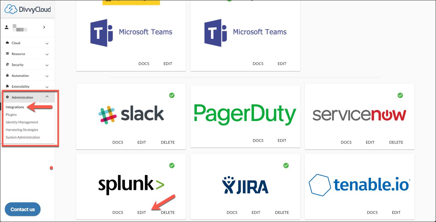 Splunk Integration Access