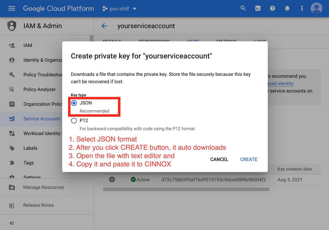 Dialogflow - Service Key Account in JSON format