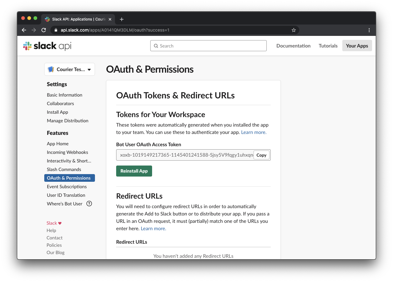 Slack OAuth & Permissions after App install