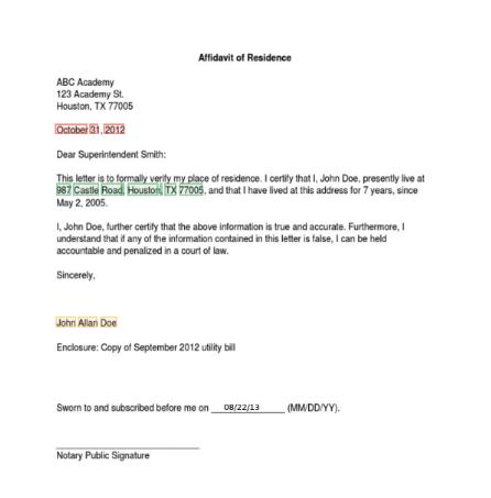 Affidavit of residence key data extraction