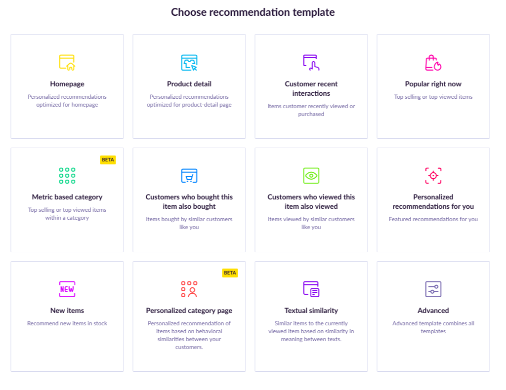 List of product recommendations templates in Exponea.