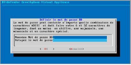 Interface de la console de l'appliance : configurer le mot de passe de la base de données