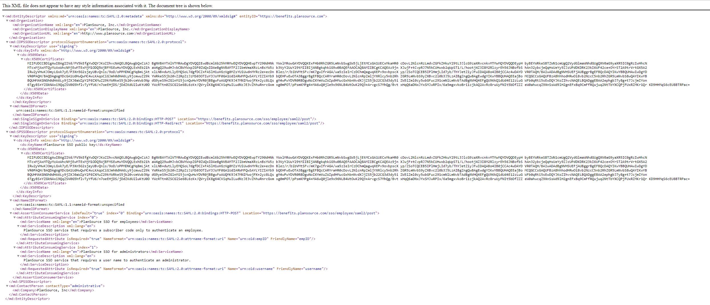 PlanSource SAML MetaData File