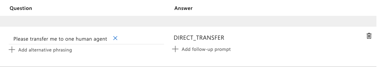Transfer to Live Agent in QnA Maker