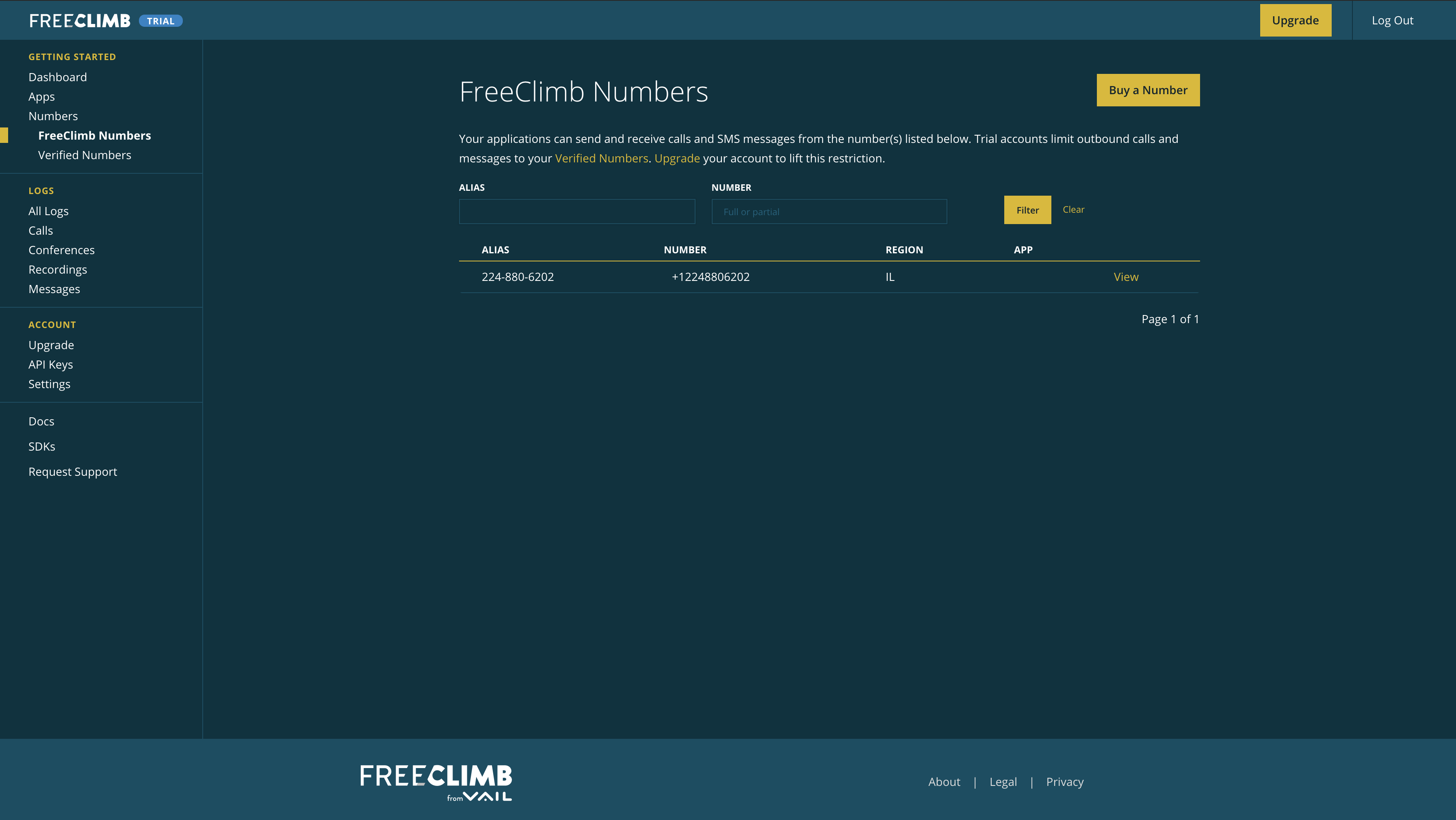 The Numbers page lists all the FreeClimb numbers on your account.