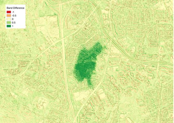 After: Difference image of the two NDVI images