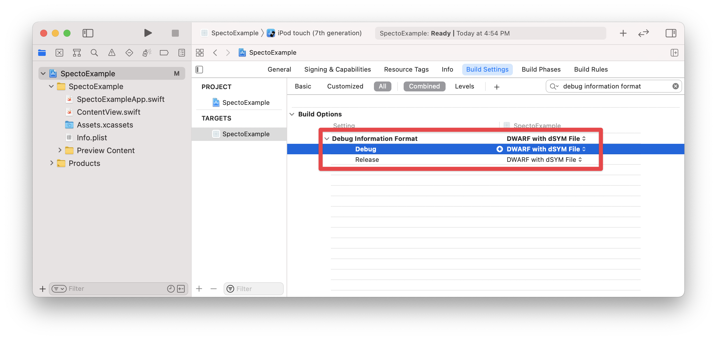 Setting the Debug Information Format setting to DWARF with dSYM File in Xcode build settings