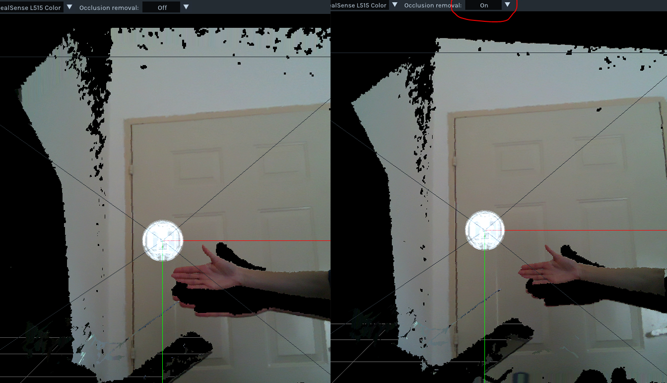 Figure 19. Occlusion Invalidation inside Intel® RealSense™ Viewer with L515 Lidar Camera Left: Raw Point-cloud; Right: Point-cloud with occlusion invalidation enabled