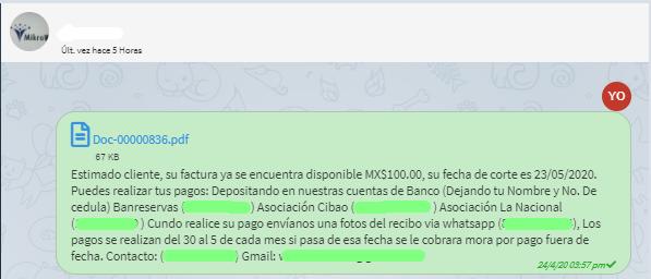 No hay limite de texto vía Telegram.