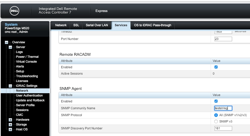 Dell iDrac SNMP Configuration Example