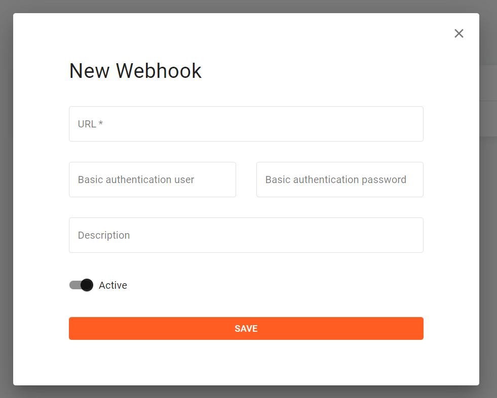 Screenshot of the form required to create a new webhook