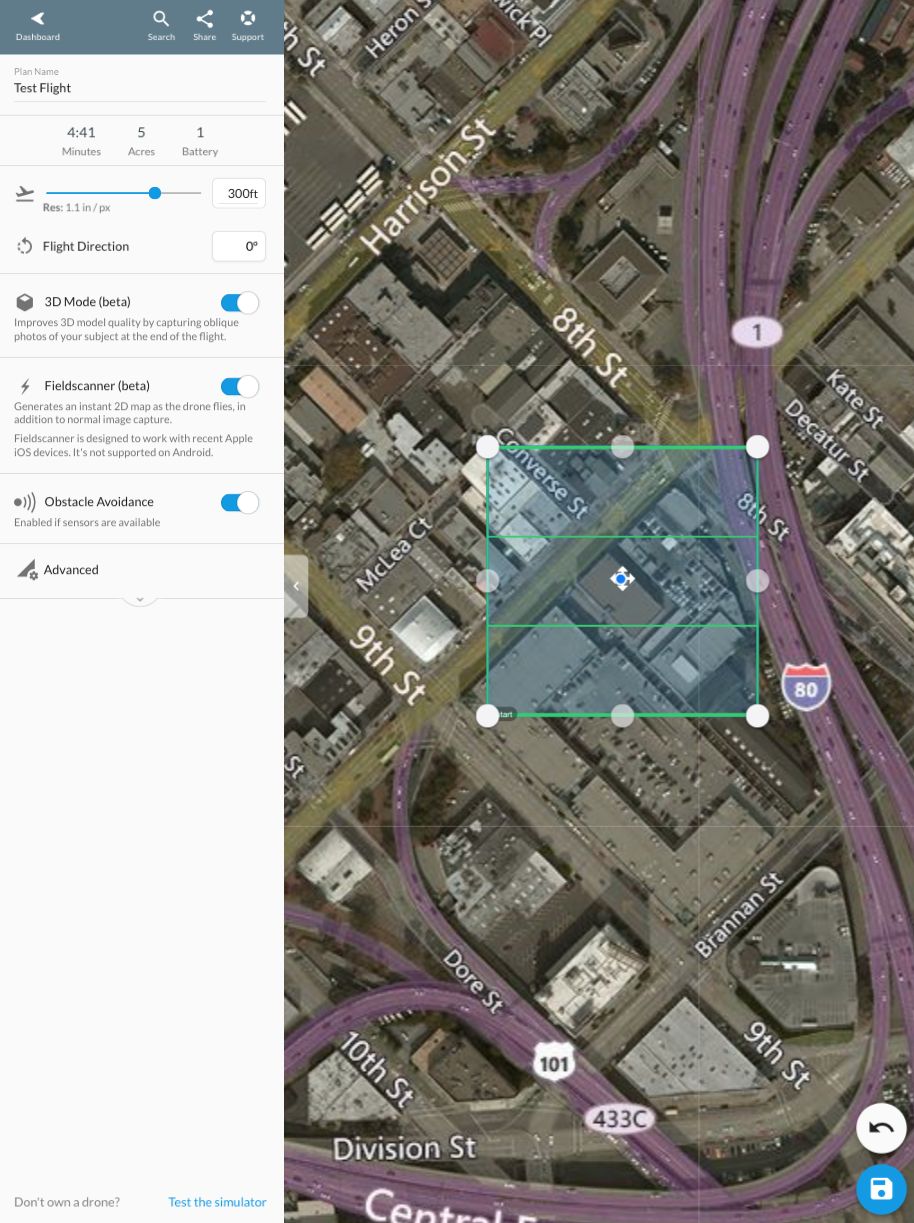 You can enable Structures Mode, Live Map, and Obstacle Avoidance on our flight planning page.