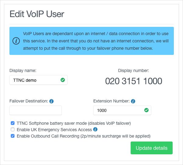 Update VoIP User details