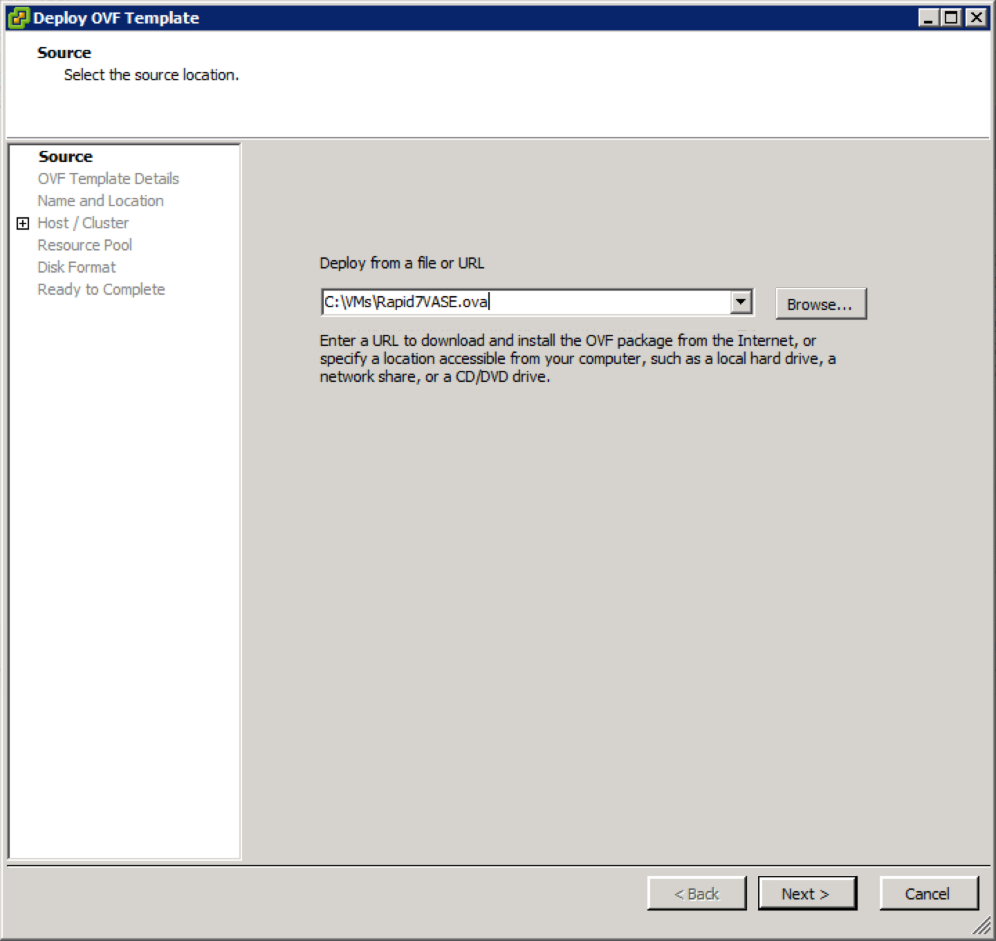 The Deploy OVF template window