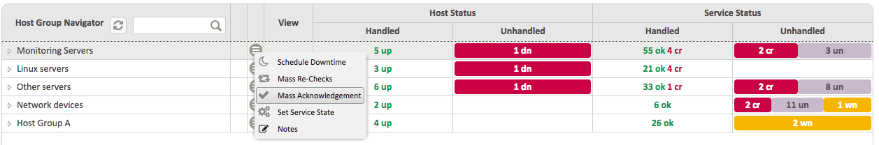 Contextual menu against 'Monitoring Servers' Host Group