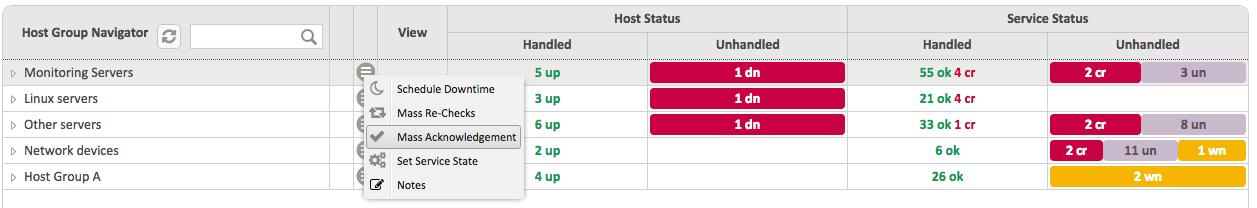 Contextual menu against 'Monitoring Servers' Host Group