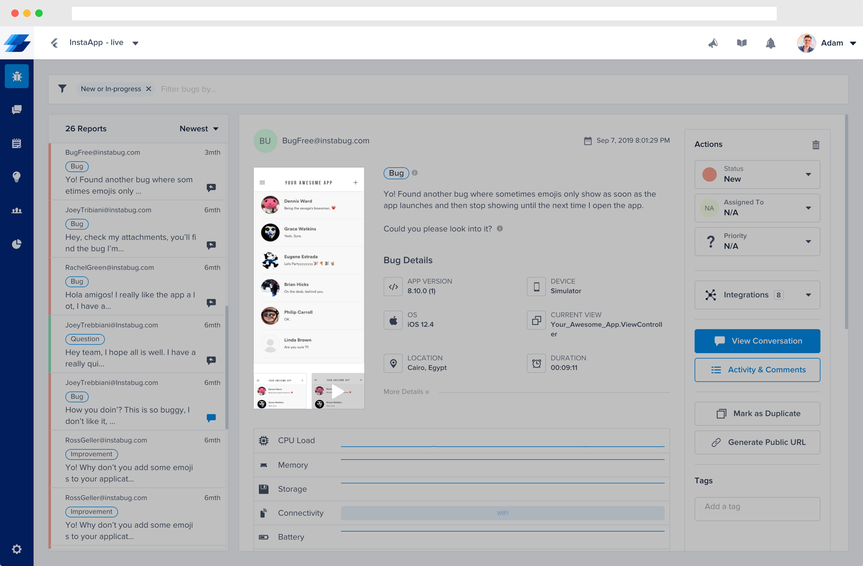 This is where your users' attachments appear in each report from the bugs page of your dashboard.