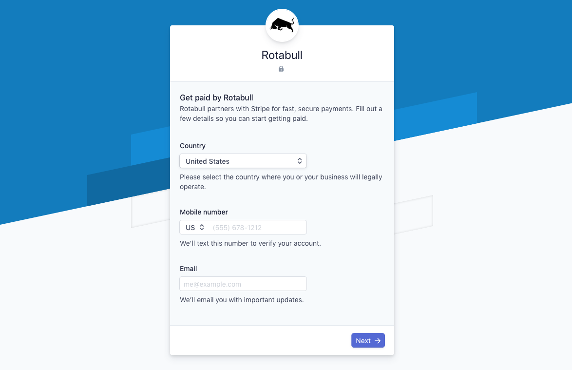 Payments account setup form