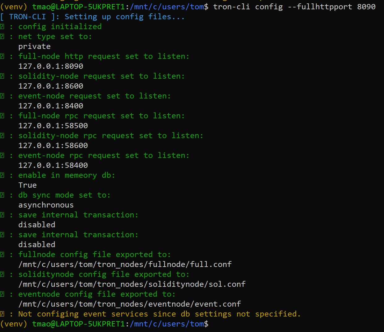 Full Node HTTP port set to 8090