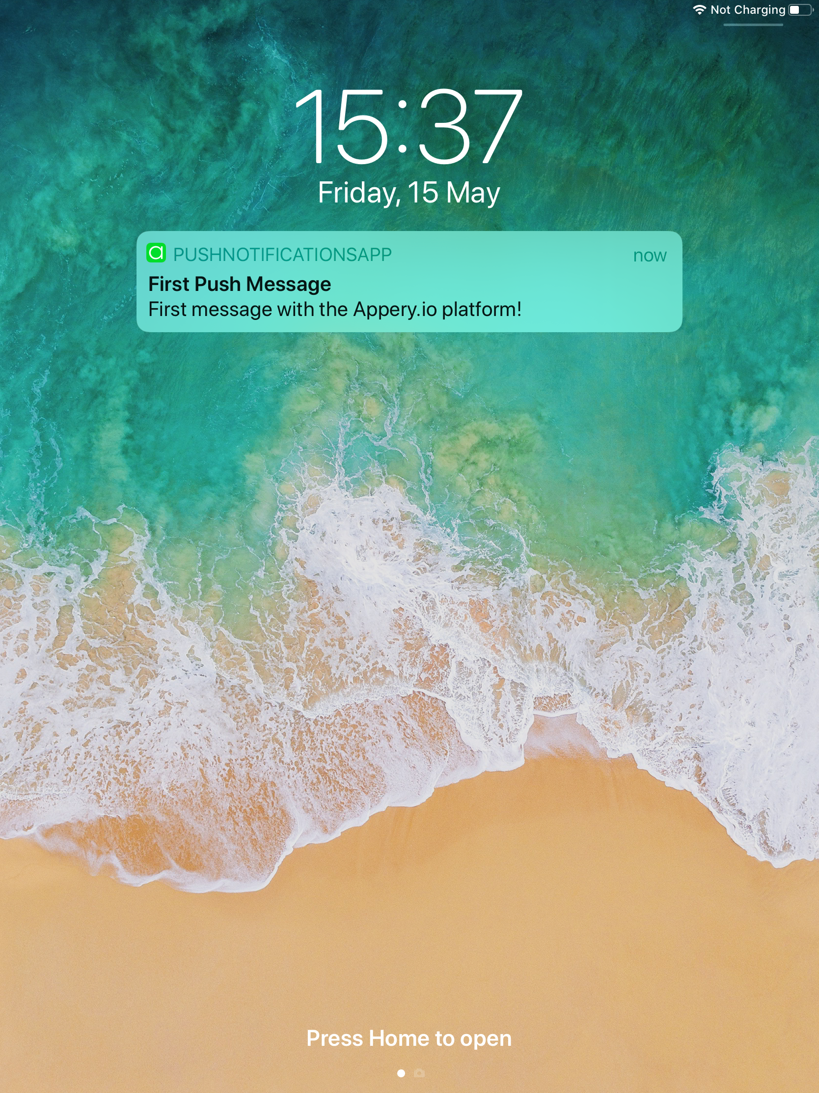 Push Notification message on an iOS device