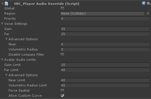 A VRC_PlayerAudioOverride as it appears when first added. In this state, it has no collider assigned to Region (and Global isn't checked) so it won't do anything.