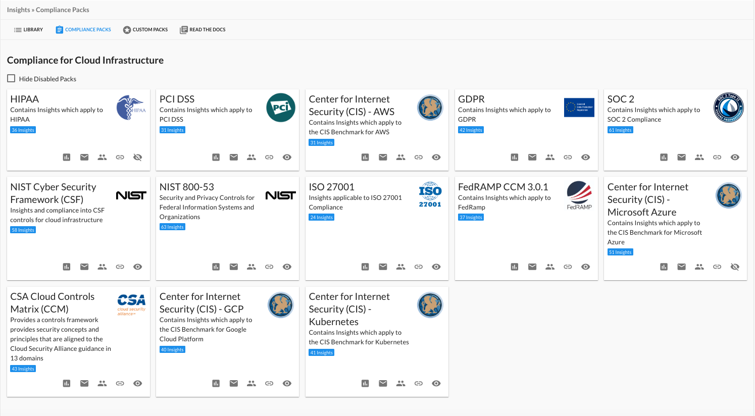 DivvyCloud-Provided Compliance Packs as Seen on the Insights Page