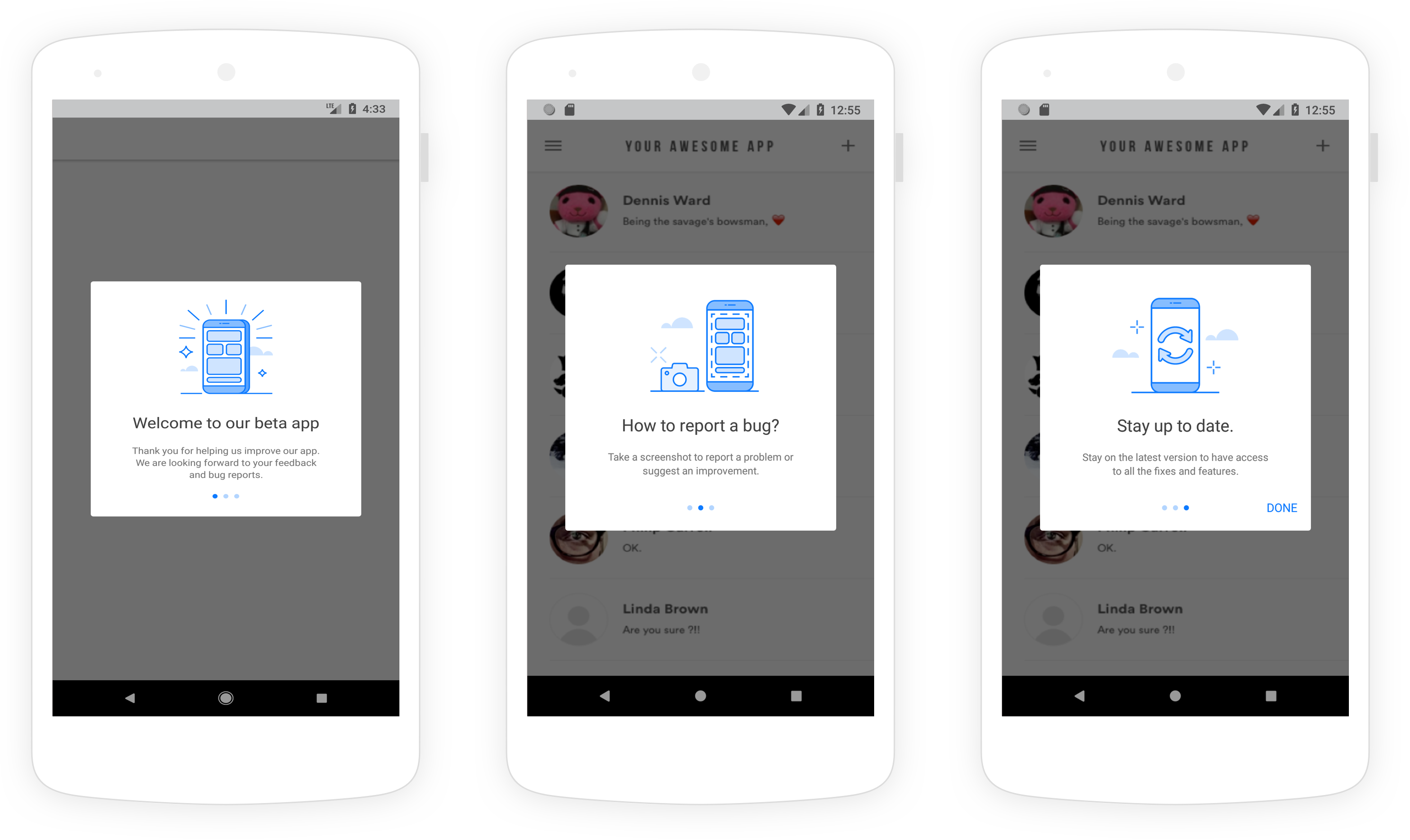 An example of the three-step on-boarding flow that appears to users in beta apps.