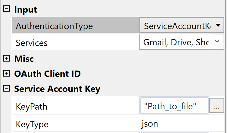 In order to use Service Account authentication, add the path to your generated Service Account file to the **KeyPath** field and switch **AuthenticationType** to ServiceAccountKey. If you are using p12 keys, also fill the **Password** and **ServiceAccountEmail** fields.