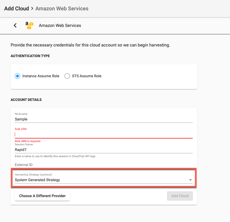 Selecting a Harvesting Strategy While Adding a Cloud Account