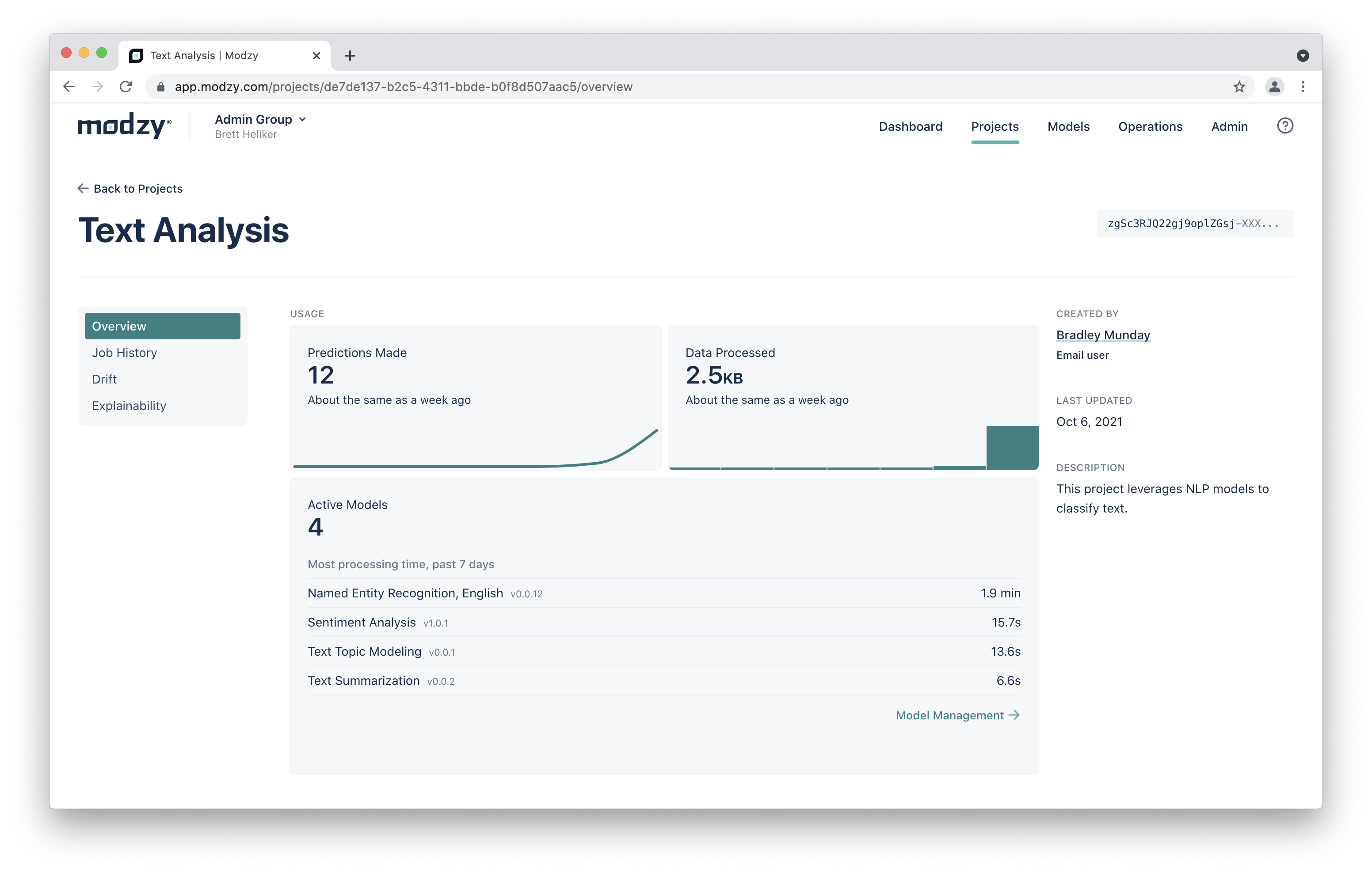 Project Dashboard Page