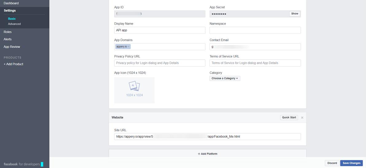 Facebook app.