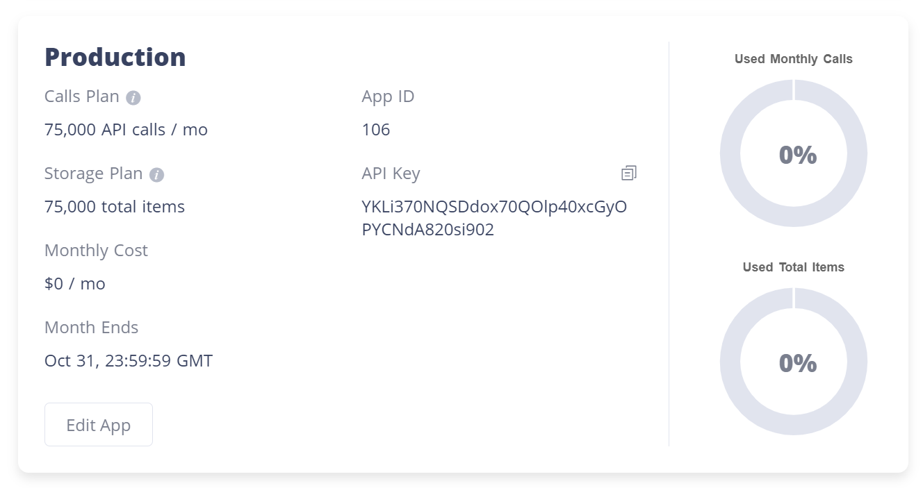 App details on the Accounts / App page after adding a new app
