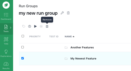 Removing a feature from a run group.