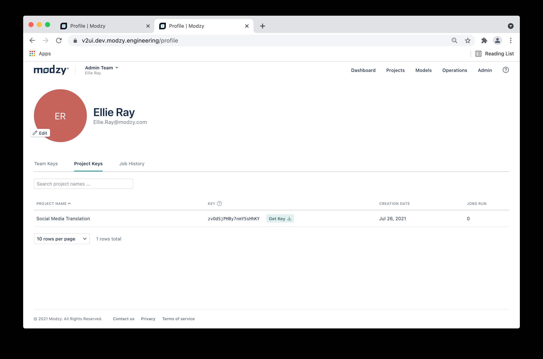 Downloading Project API Key via My Profile