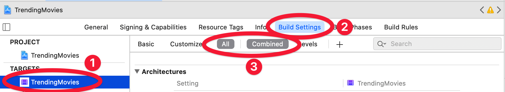 Open the Build Settings for the application target in Xcode