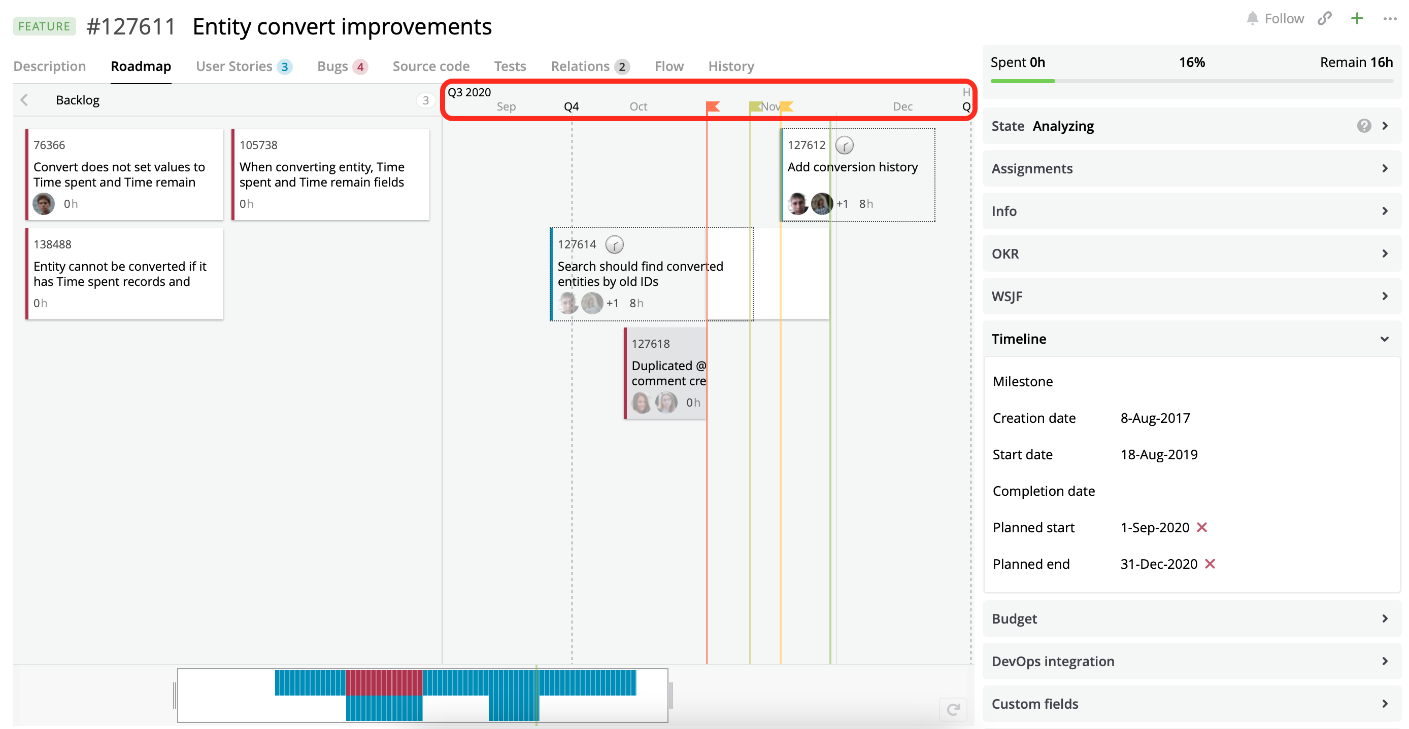 A Roadmap view with the quarter date scale.