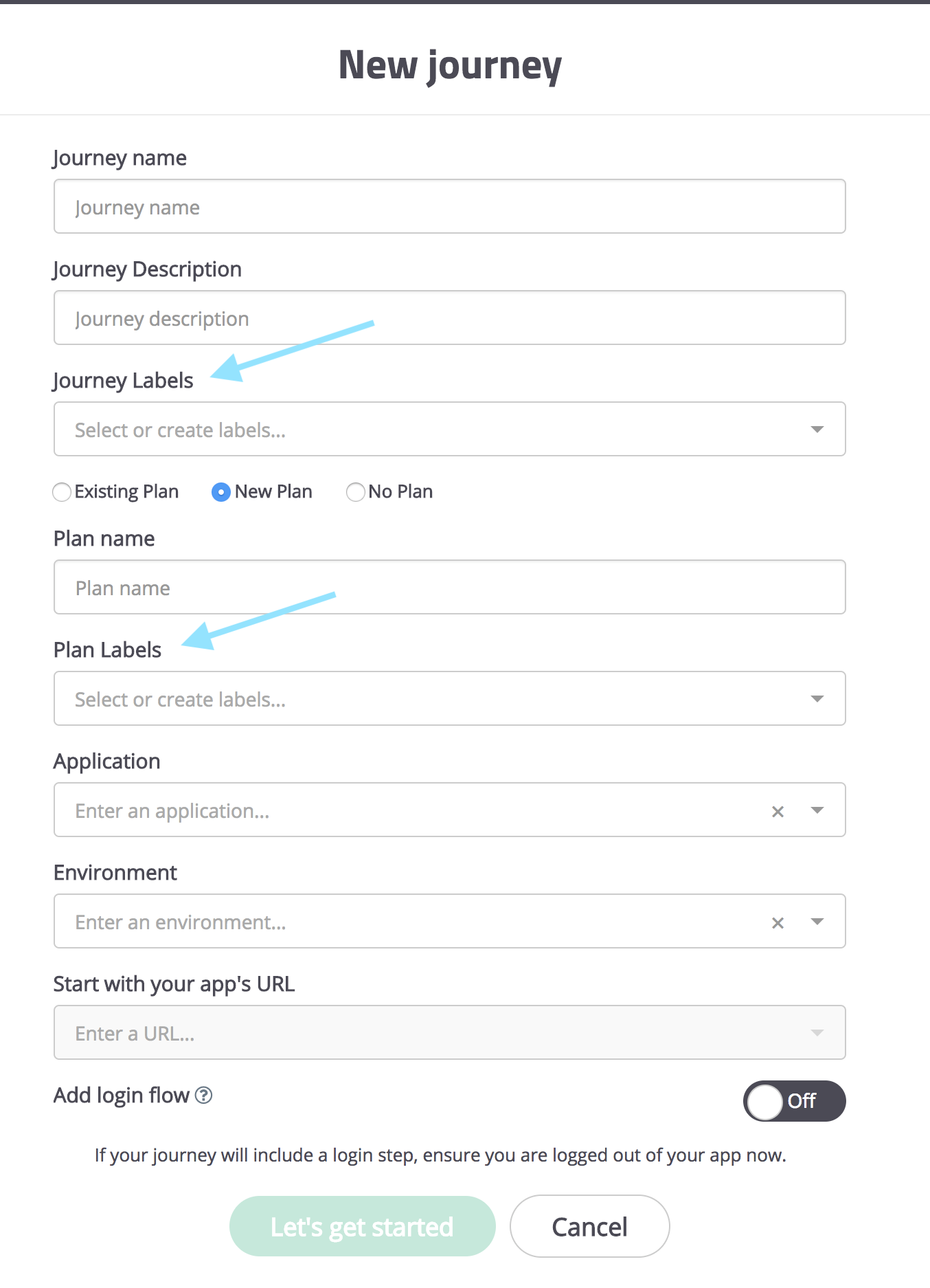 When creating a new journey, you can simply add journey labels below the journey description. If you're adding the journey to a new plan too, go ahead and add labels to that new plan in the same form!