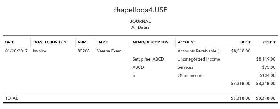 Recurly For QuickBooks Online - Invoice journal entry example