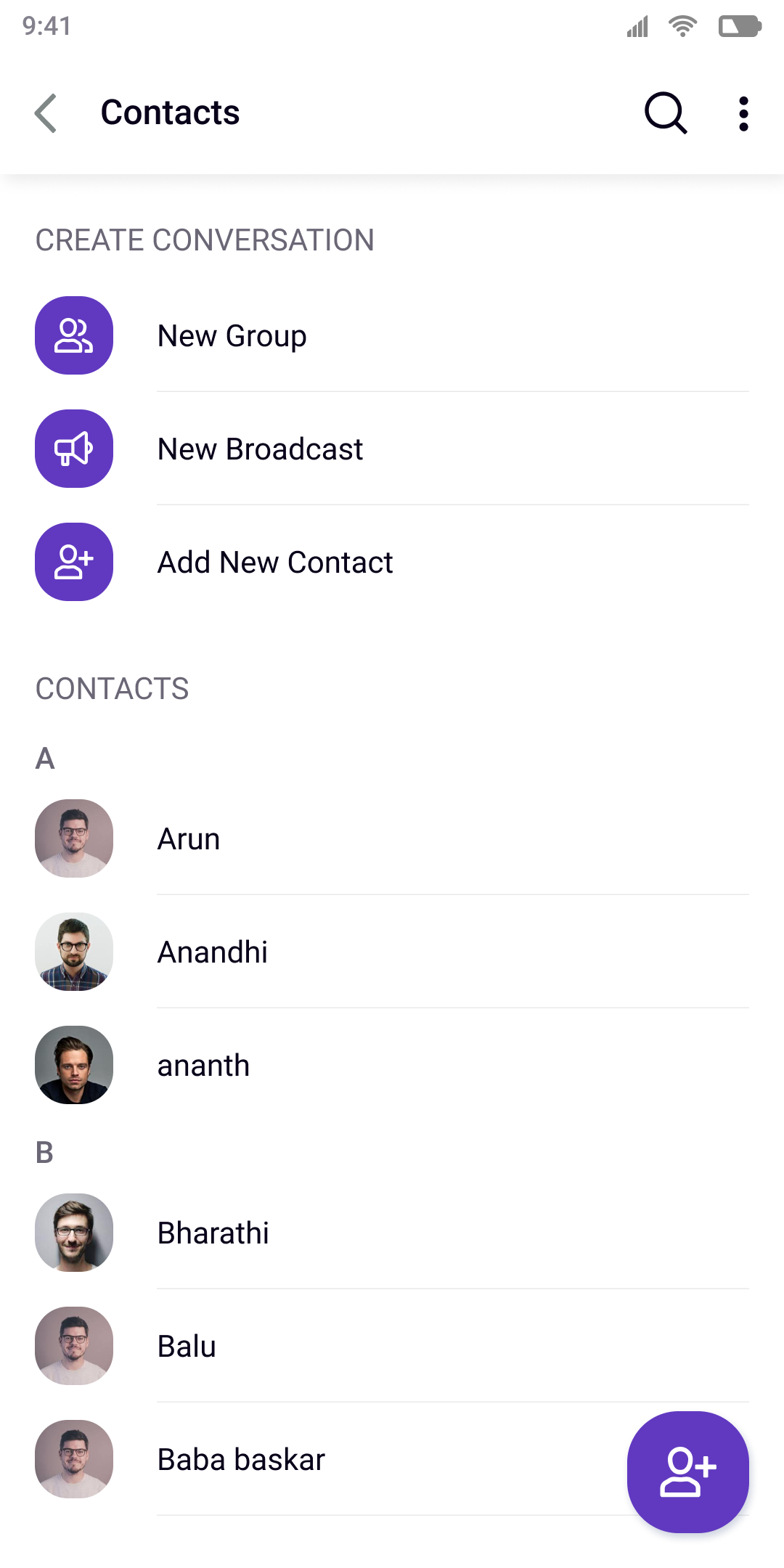 Contacts Screen in UI