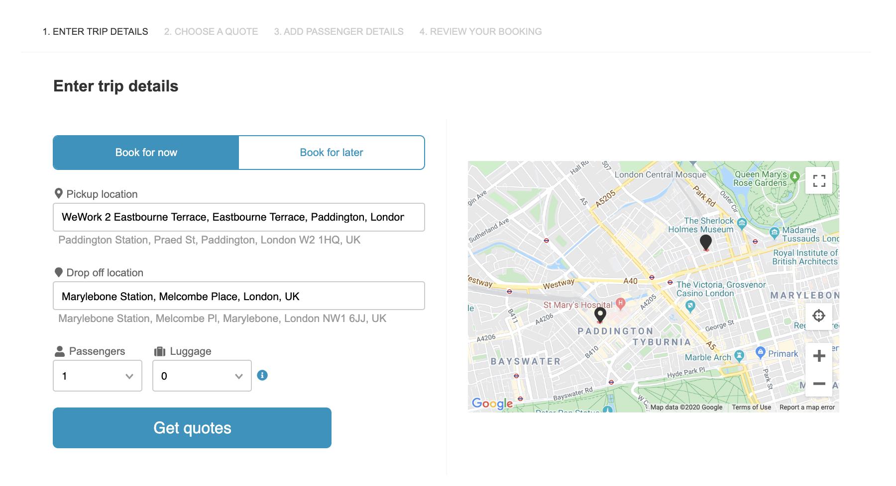 select address, e.g. from WeWork at Paddington to Marylebone station