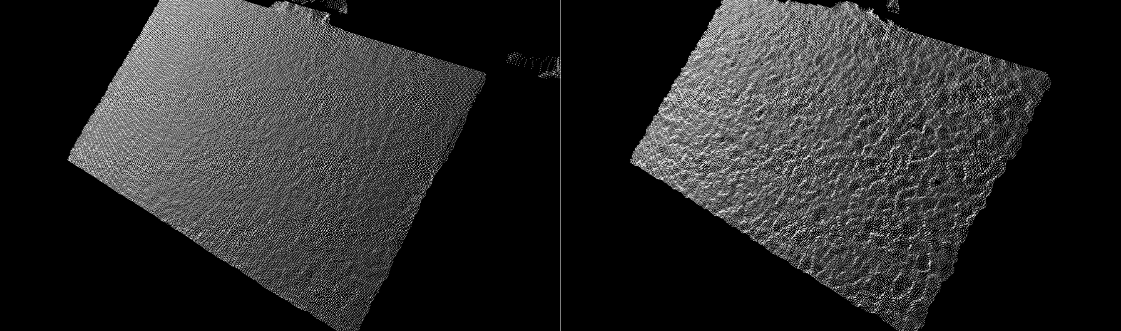 Figure 1. Comparisons of the Point Cloud of a well calibrated camera (LEFT) with a degraded camera (RIGHT) for a flat textured wall. The lower bumpiness on the left is preferred.