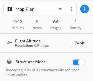 Use structures mode to capture imagery of the sides of buildings and other structures.