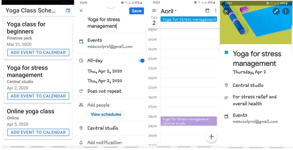 App work on Android, Google calendar