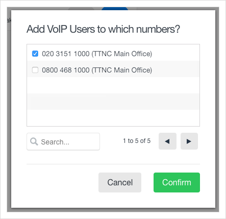 Select the number you're looking to use with the VoIP User