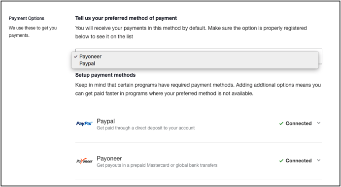 Setting Payment Preference