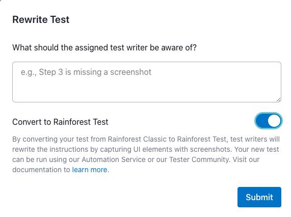 Requesting a test rewrite.