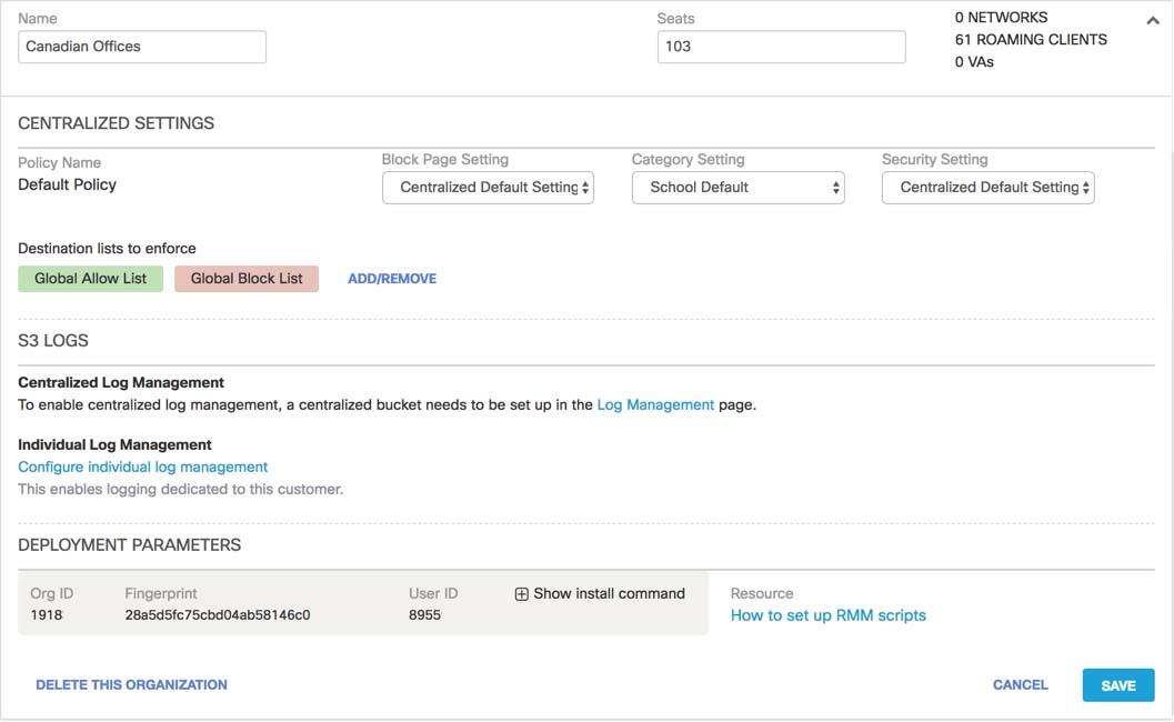 Acquire Umbrella Roaming Client Parameters