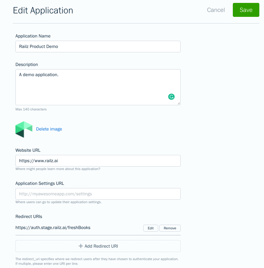 FreshBooks Developer Portal - Edit Application. Click to Expand.