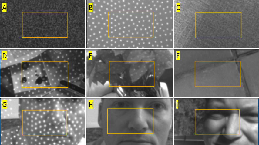 Figure 6. A set of scenes that have successfully been used for self-calibration, ranging from the ideal flat textured target without projector illumination (A), to scenes with projector on (B, D, E, G), to outdoor scenes in bright sunlight (F, I).