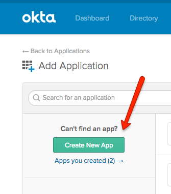 Okta Create New App Button